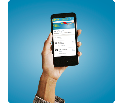 a hand holding a mobile phone with the Dry Feb website. The background is blue.