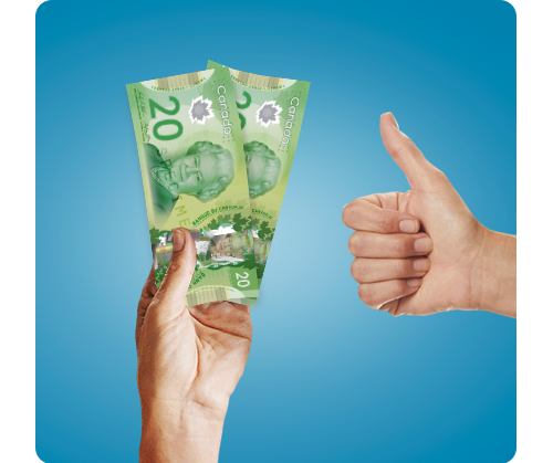 a hand holding money and a hand giving a thumbs up against a blue background