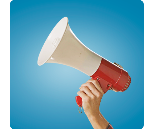 a hand holding a red and white megaphone against a blue background