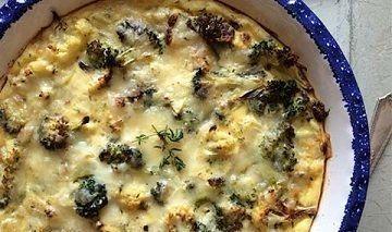 Small roasted broccoli and cauliflower crustless quiche